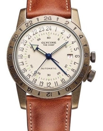 Relógio Glycine Suíço Airman Automático 40mm The Chief Gmt Mostrador Beige Raridade Metal De Municao Original E Novo