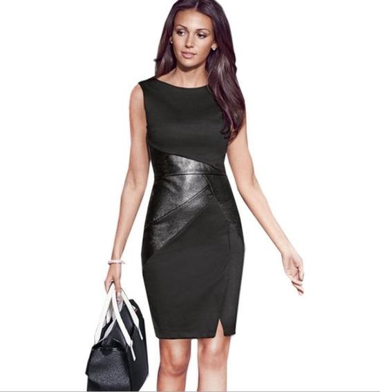 Vestido Negro Con Detalles En Ecocuero Importado!!