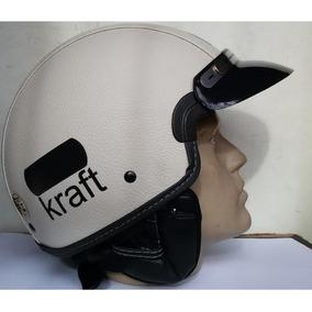 Capacete Kraft Custom Couro Bege Aberto