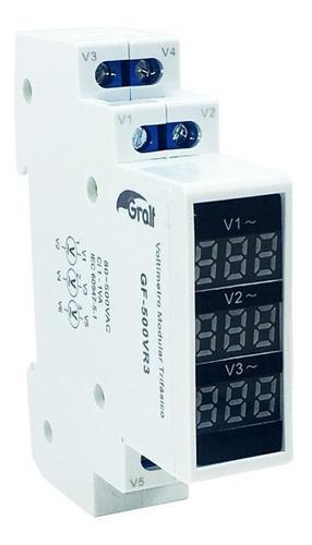 Voltimetro Modular Trifasico Gralf Gf-500vr3 80-500v R/din