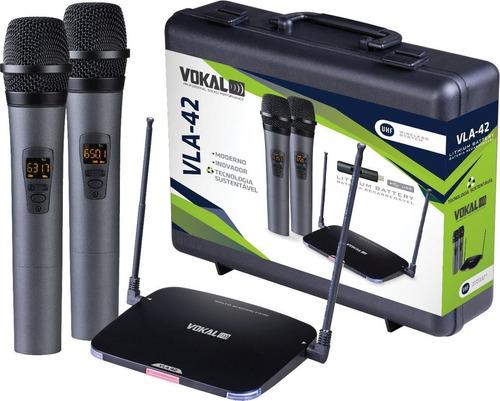Imagem 1 de 6 de Microfone Sem Fio Profissional Duplo Vokal Vla42 Recarregáve