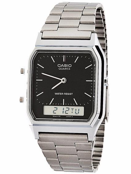 Relógio Casio Unissex Vintage Aq-230a 1dmq Prata Anadigi
