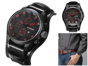 Relógio Masculino De Couro Original- Modelo Curren