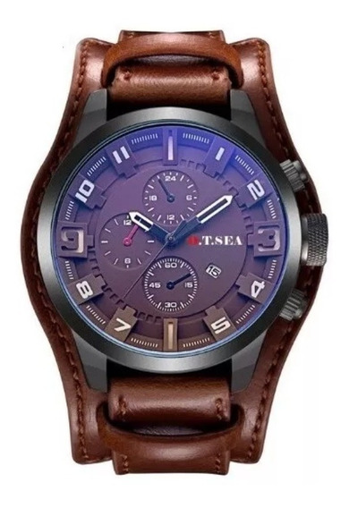 Relógio Bracelete Masculino Pulseira Couro Rock Modelo 025