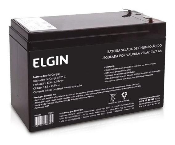 Bateria Selada Elgin 12v 7,0ah Nobreak E Cerca Elétrica
