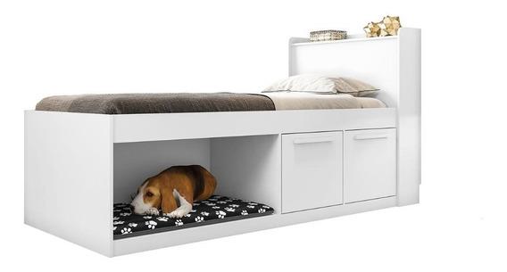Cama Solteiro Pet Puppy Framar 0,88 Mdf E Mdp Branca