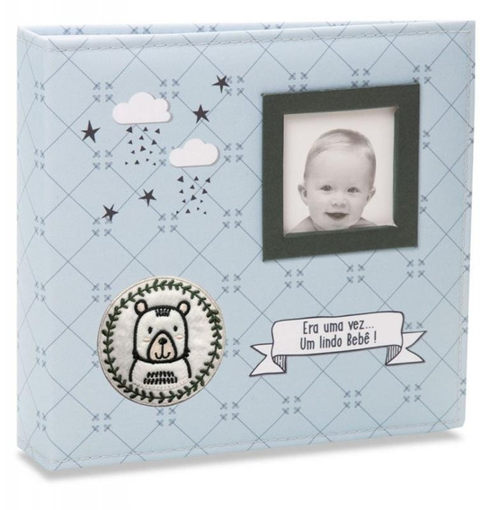 Álbum 200 Fotos 10x15 Tecido Bebê Menino Azul 813 Ical