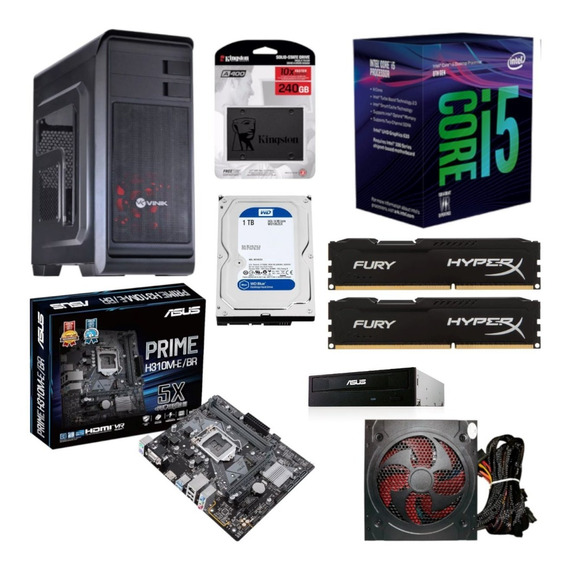 Pc Gabinete Hunter Intel I5 8400 Asus H310m E Br Hyperx Hx 16gb 2400 Kingston Ssd 240gb Hd 1tb Fonte Bc500 Gravador Dvd