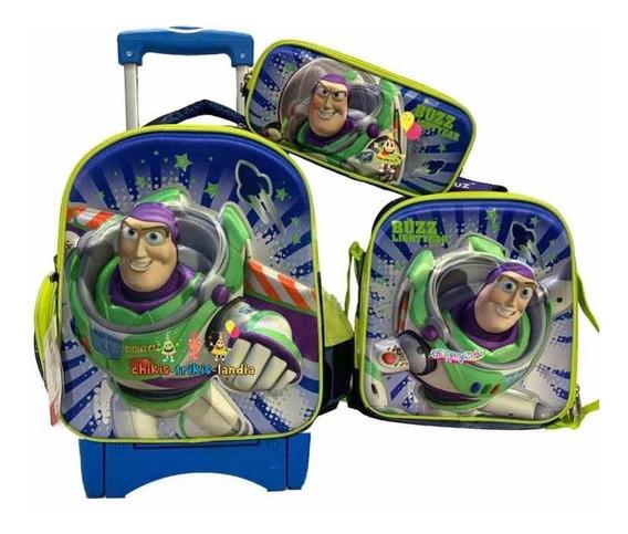 Buzz Lightyear Kit Mochila 3d Kinder Lonch Lap Original Toy