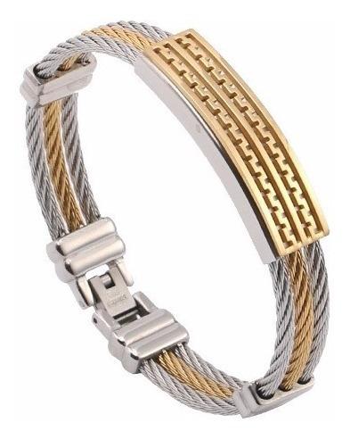 Pulseira Masculina Bracelete Aço Inoxidável + Ouro 18k