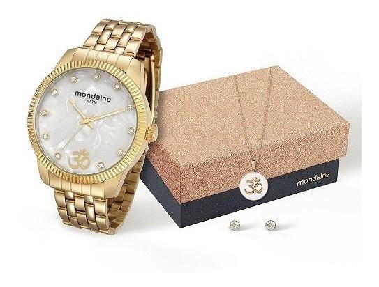 Relógio Mondaine Feminino 76579lpmkde3k1 + Colar E Brincos
