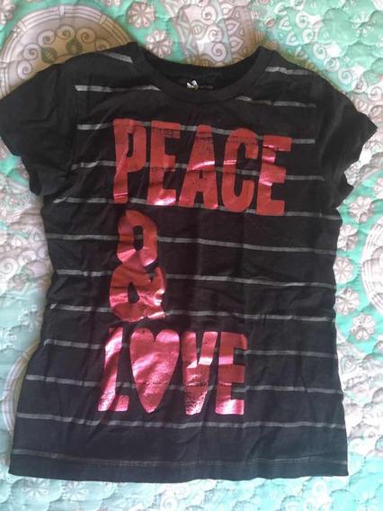 Playera Negra Peace & Love De Niña Old Navy Talla S (6-7)