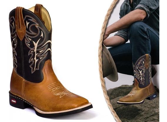 Bota Masculina Cano Longo Texana Country Bico Quadrado Couro