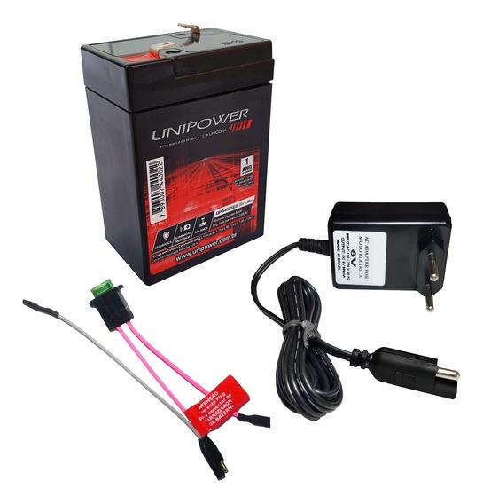 Kit Bateria 6v 4,5ah + Carregador + Chicote - Moto Elétrica