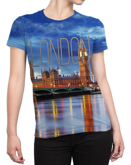 Camiseta Baby Look Feminina Londres Estampa Total