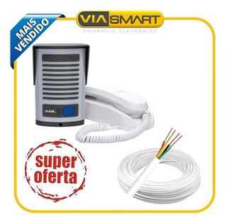 Kit Interfone Porteiro Eletrônico Agl P200 + 50 Mts De Cabo