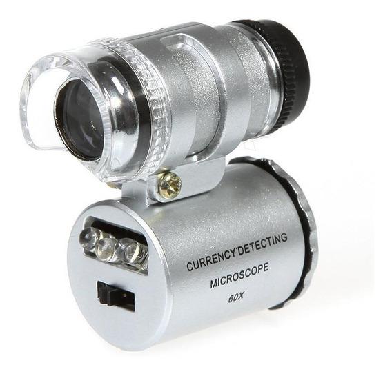 Mini Microscópio 60x Bolso Led Lupa