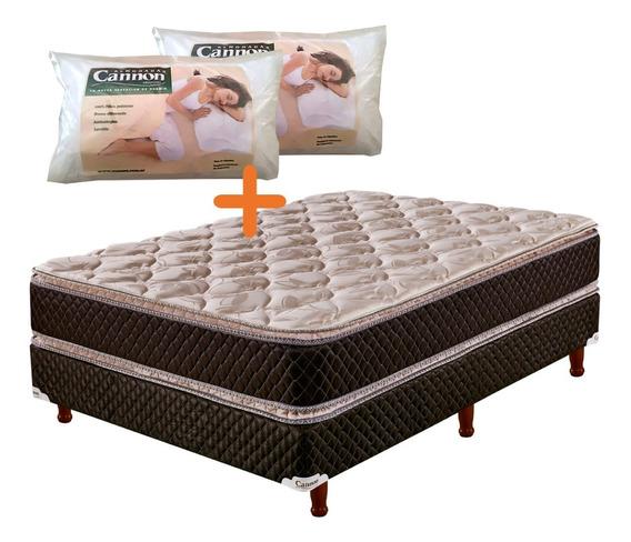 Sommier Y Colchón Cannon Exclusive Pillow 140 + 2 Almohadas
