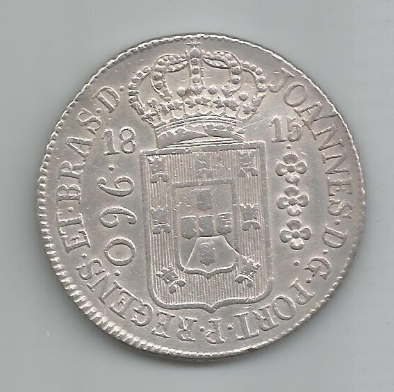 Moeda Prata Brasil - 960 Réis (patacão) - 1815 R - Var. 43a
