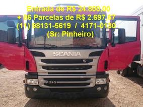Scania P310 Bi-truck, Vermelha, Carroceria Madeira
