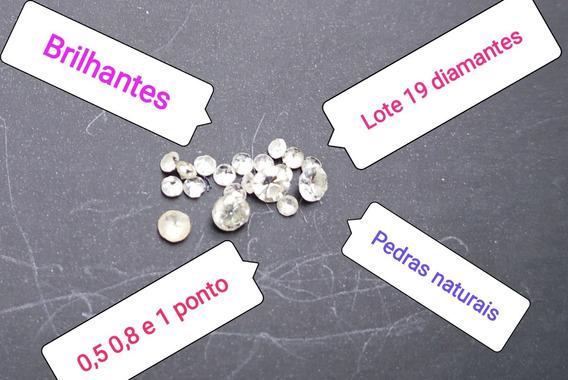 Lote Com 19 Pedras Brilhantes Naturais Diamantes 0,5 0,8 1pt