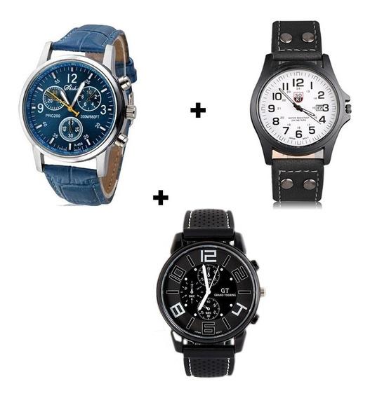 Kit 3 Relógios Masculinos De Luxo Bonitos E Baratos Couro