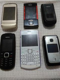 Lote 5 Celulares Nokia Diversos C2 2660 X2 1661 X3 Leia