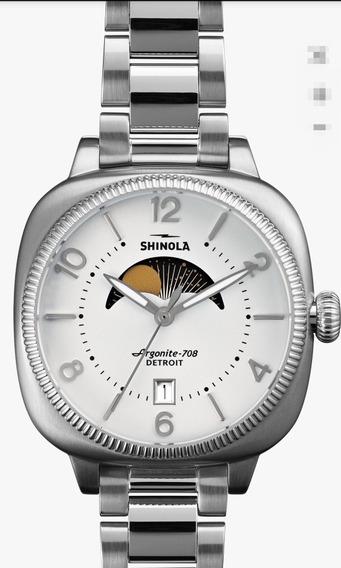 Reloj Shinola Fase Lunar Dama Acero Cristal Zafiro Nuevo