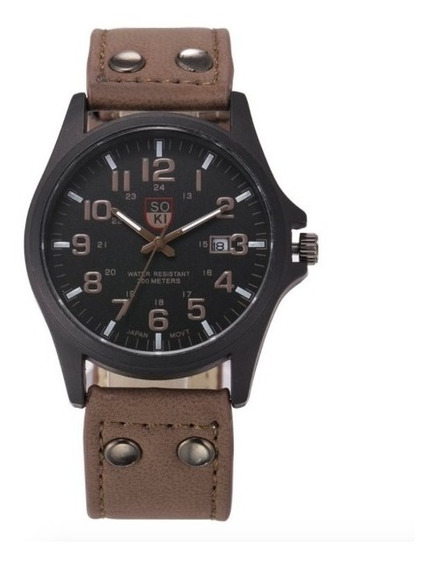 Reloj Hombre Militar Acero Cuarzo Marca Soki Negro Cafe Verde