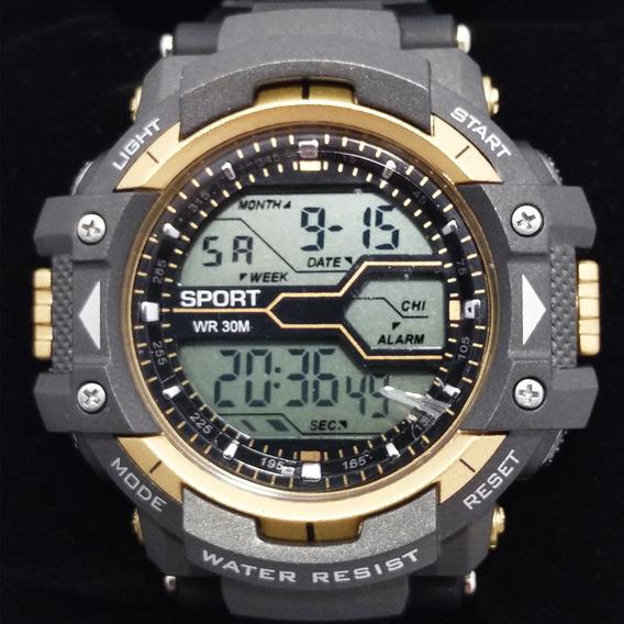 Relógio 8338g Dourado Digital Original Resistente A 50 Água