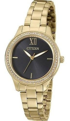Relógio Citizen Feminino Dourado Coroa Pequena Tz28333u