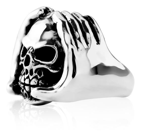 Anel De Prata Masculino Skull And Hands Coleção Wild
