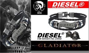 Bracelete Em Couro Diesel Modelo Gladiador