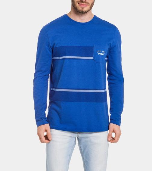 Camiseta Meia Malha Penteada Azul Spark