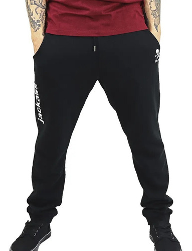 Imagen 1 de 1 de Pantalón Buzo Hombre Negro Jogger Jackass / Santiago Boxer