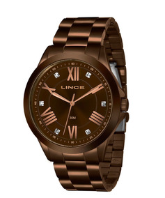 Relógio Feminino Strass Marrom Lince Lrbj046l N3nx