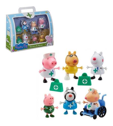 Imagem 1 de 5 de Brinquedo Peppa Pig - 6 Figuras Médicos E Enfermeiros Sunny