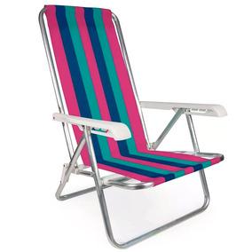 Cadeira Praia Alumínio Reclinável 4 Posições Mor Frete Gráti