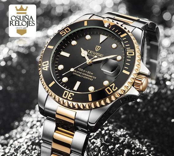 Relógio Masculino Luxo Original Dourado Prata Funcional