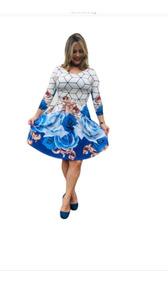 Vestido Godê Manda 3/4 Feminino Evangélico Social Com Cinto