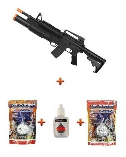 Rifle Airsoft Bivolt/spring M4a1 Shotgun + Munições + Óleo