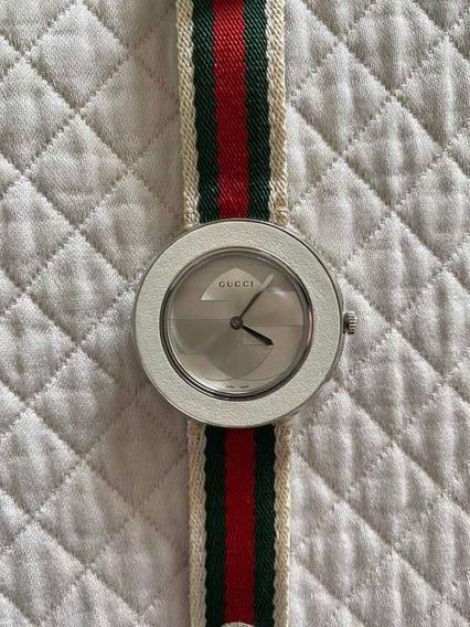 Relógio Gucci Branco Com Pulseira Couro/tecido