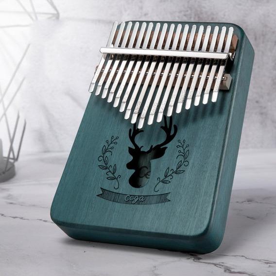 17 Chaves Kalimba Sólido Mogno Polegar Dedo Piano-verde