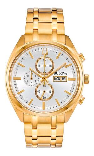 Relógio Bulova Masculino Cronógrafo 97c109 Aço Dourado