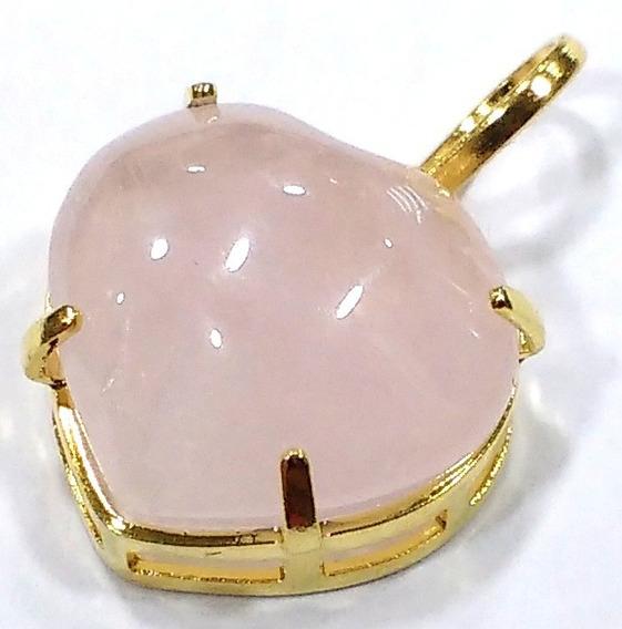 Pingente Coração De Pedra Quartzo Rosa 1,5cm Folheado A Ouro
