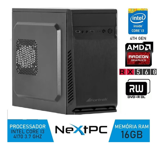 Pc Gamer Intel I3 4ºgeração 3.7 Ghz 16gb Rx560 4gb Hd 2tb