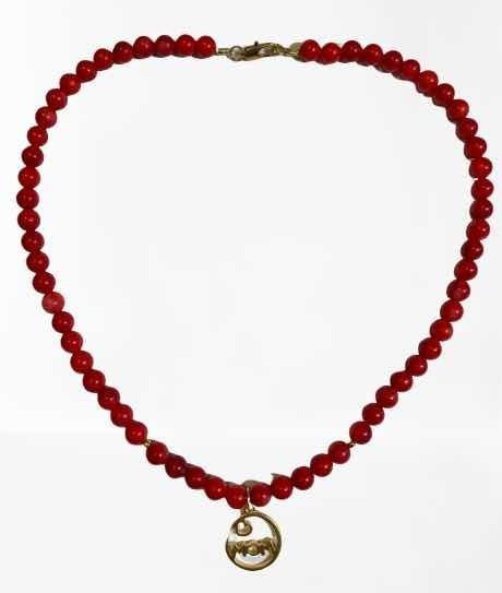 Collar Gargantilla De Coral Y Baño De Oro 14 Para Damas