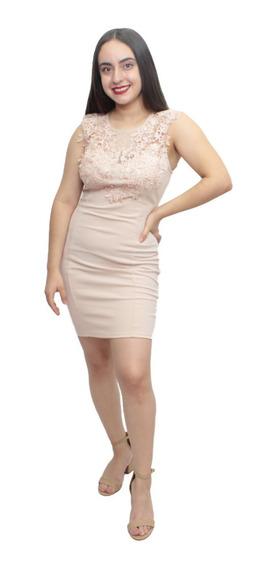 Vestido Liso Corto Fiesta Nude Strech Encaje Formal Importad
