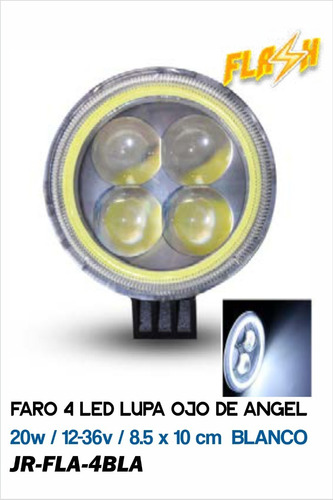 Faro 4 Led Lupa Ojo De Angel 20w / 12-36v / 8.5 X 10 Cm