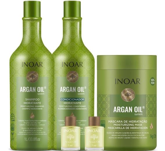 Kit Shampoo Condicionador Máscara E 2 Óleos Argan Oil Inoar